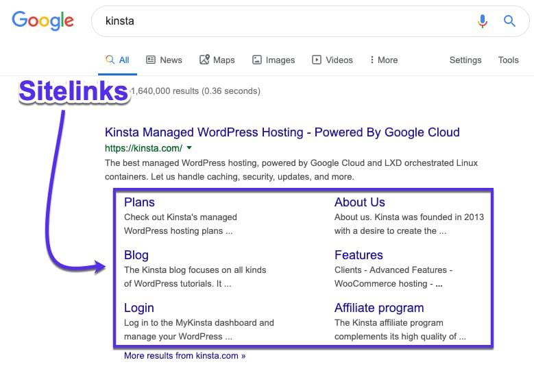 Google Sitelinks For understanding Website structure